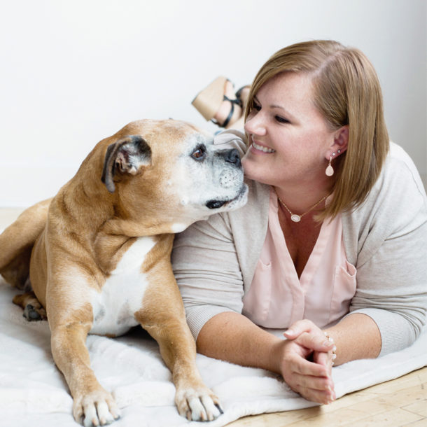 boxer dog kissing jennifer waters
